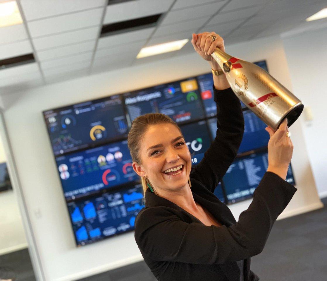 Employee celebrating an achievement