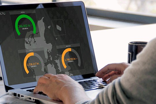 Laptop screen showing a Plecto dashboard