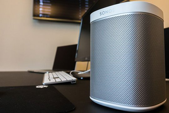 Picture of a speaker in Plecto's office