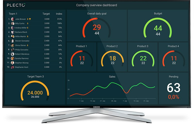 A Plecto dashboard showing a company overview