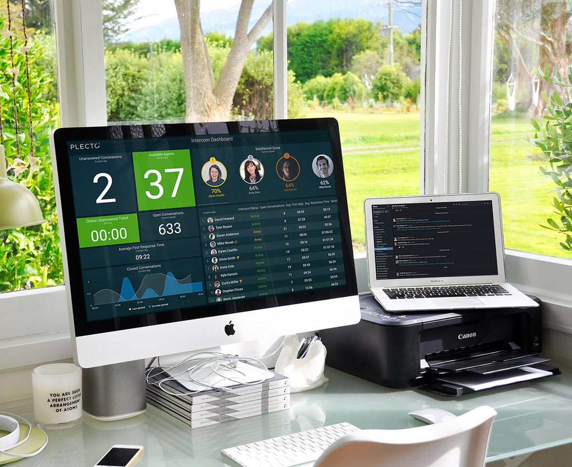Work from home with Plecto on big Screen