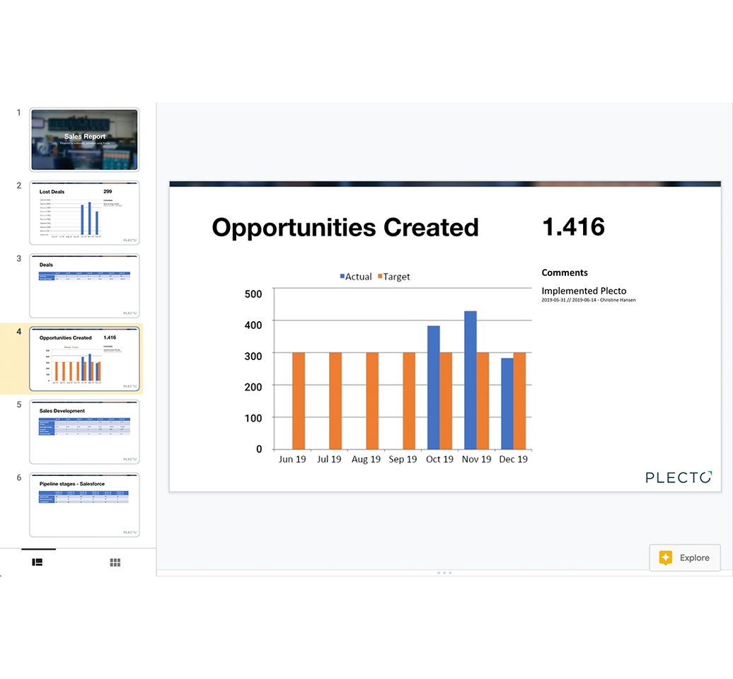 Export Presentation of Plecto Report in Powerpoint