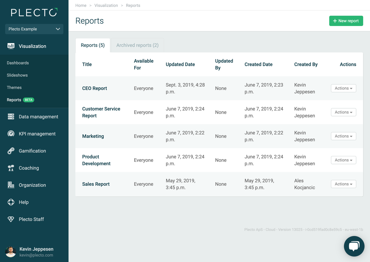 Reports overview page