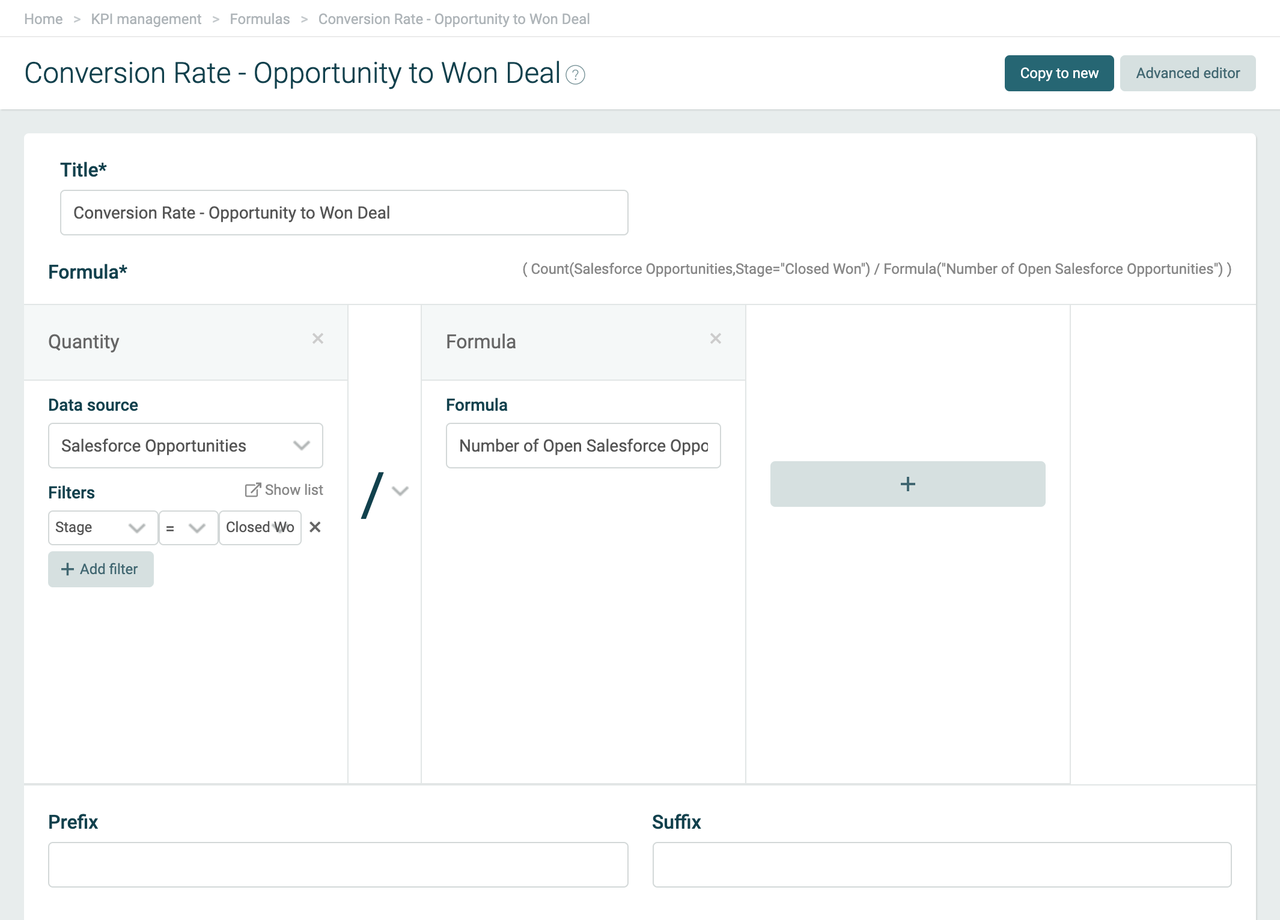 Example of Plecto formula editor for sales