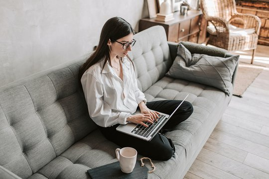 woman working from home on email marketing